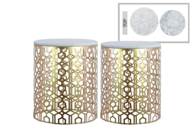 Where to find LOUNGE - END TABLE LATTICE MARBLE GOLD in Houston