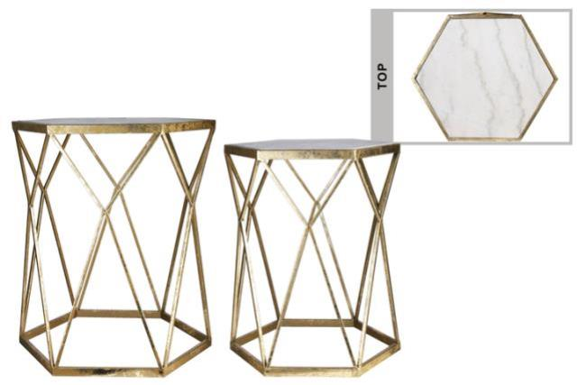 Where to find LOUNGE - END TABLE HEX MARBLE GOLD in Houston