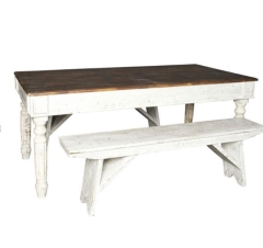Rental store for LOUNGE - VINTAGE HARVEST TABLE   BENCH in Houston TX